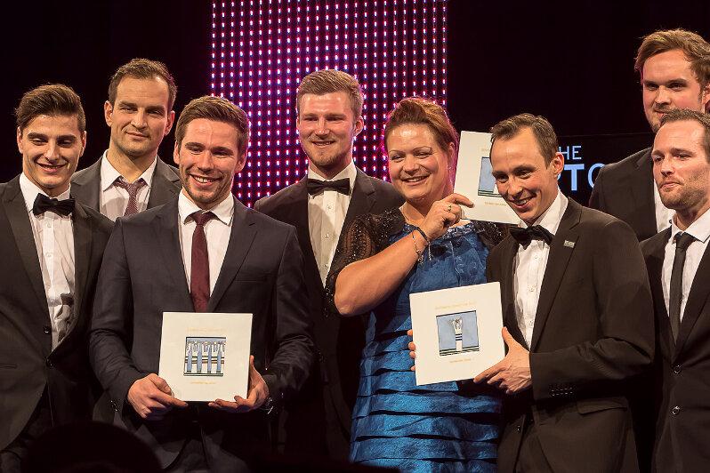 Die Sportler des Jahres: Christina Schwanitz, Eric Frenzel und die Handballer des SC DHfK Leipzig.
