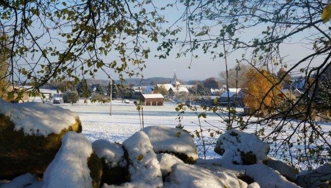 So schön sieht das verschneite Stangengrün aus. Die weiße Schneedecke auf kahlen Bäumen, Dächern, Wiesen und Feldern laden in diesen Tagen zu einem Winterspaziergang ein.