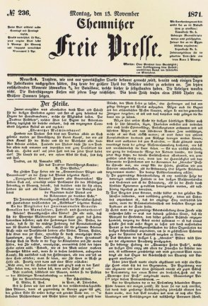 """Die Zeitung als proletarisches Kampfblatt: """"Der Strike"""", Ausgabe vom 13. November 1871."""