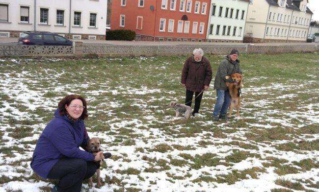 Hundetrainerin Kathrin Hellmig ist mit anderen Hundebesitzern auf dem Areal unterwegs, auf dem Hunde künftig von der Leine gelassen werden können.