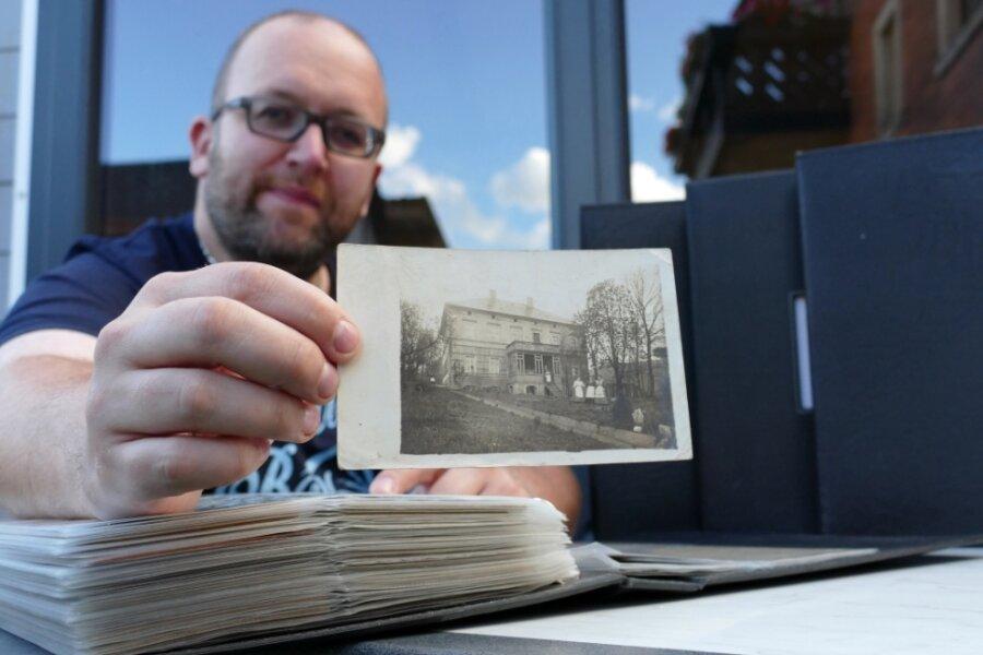 Dank dieser Postkarte verfügt Carsten Beier nun auch über ein Foto der Zschopauer Stadtgutvilla, so wie sie 1912 an der heutigen Alten Chemnitzer Straße stand.