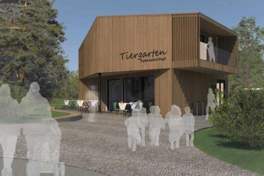 So soll das neue Funktionsgebäude am Eingang des Falkensteiner Tiergartens aussehen, das zugleich auch den Stadtpark versorgt. Der entsprechende Entwurf des Büros Heidi Schettler aus Grünbach hatte den Planungswettbewerb gewonnen.