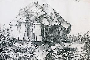 So sah das Felsmassiv vor rund 300 Jahren aus.