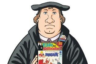 Martin Luther mit der Nummer 483 des Mosaikheftes: Die Abrafaxe landen im Mansfelder Land.