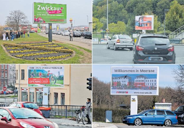 Vier der bisher zwölf existierenden Cityscreen-Anlagen von Comedia Concept: in Zwickau, Reichenbach, Werdau und Meerane. Weitere 25 sind beantragt.