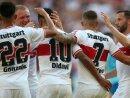 Der VfB bejubelt den ersten Dreier der Saison