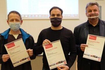 Jörg Menke, Daniel Kertscher und Jens Pfretzschner (v. l.) wurden geehrt.