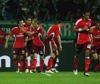 HSV-Jubel nach dem Treffer von Piotr Trochowski (l.)