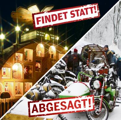 Der große Augustusburger Schwibbogen soll leuchten und auch der Männelmarkt soll stattfinden. Das 50. Wintertreffen der Motorradfahrer im Januar wurde dagegen abgesagt.