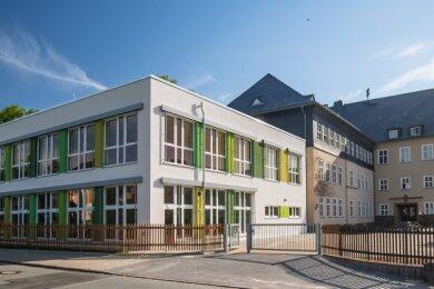 Die Oberlungwitzer Pestalozzi-Oberschule mit ihrem neuen Anbau, der rund 1,7 Millionen Euro gekostet hat.