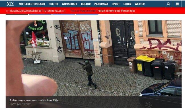 Die Mitteldeutsche Zeitung veröffentlichte auf ihrer Website ein Foto vom mutmaßlichen Täter.
