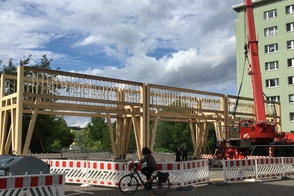 Unterstützt von einem Kran der Feuerwehr wurde das meterhohe Kunstwerk am Stumpf der Brückenstraße errichtet.
