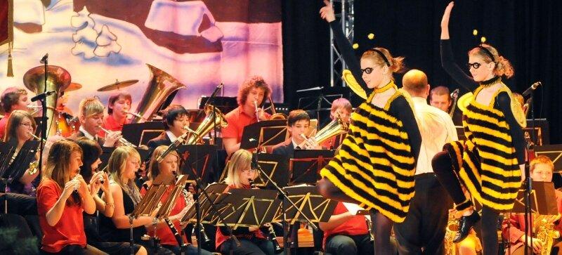 """Die Crazy Monkeys, das Nachwuchsorchester des Meeraner Blasmusikvereins, und die flotten Bienen des Meeraner Vereins Tanzboden harmonierten prächtig bei dem Titel """"Biene Maja""""."""