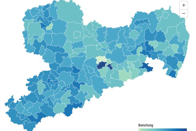 Familienkompass Sachsen: Die Auswertung in Kartenform