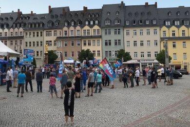 Auf dem Marktplatz in Mittweida veranstaltete die AfD Mittelsachsen am Freitagabend ihre Wahlkampfabschlussveranstaltung.