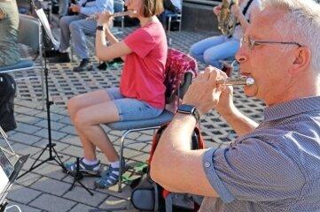 Das Bergmusikkorps Saxonia bei der Probe. Als einziger Höhepunkt steht bisher das Bergstadtfest Ende Juli an.