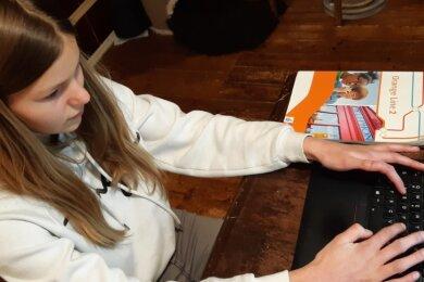 Verzweifelter Versuch: Adele probiert, sich bei der für alle Schüler im Freistaat verbindlichen Lernplattform Lernsax anzumelden.