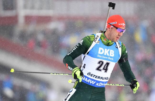 Arnd Peiffer aus Deutschland bei der Biathlon-WM, Einzel, 20 Kilometer.