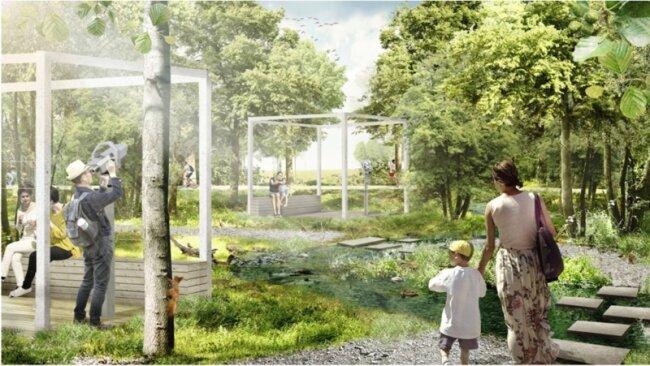So sollen nach den Vorstellungen der Architekten die Paradiesgärten im Mühlbachtal 2019 aussehen.