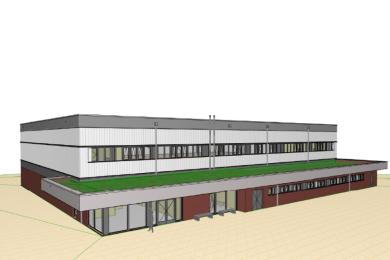 So könnte die neue Schulsporthalle in Niederwiesa aussehen.