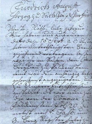Dekret von August dem Starken aus dem Jahr 1724. Es befindet sich im Archiv der Stadt Falkenstein.
