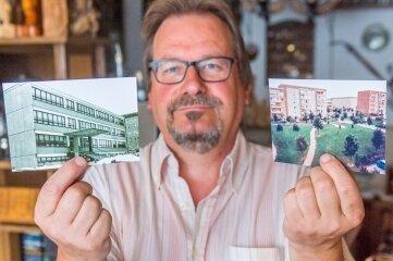 Jürgen Richter zeigt alte Fotos aus dem Wohngebiet, darunter die alte Grundschule (links).