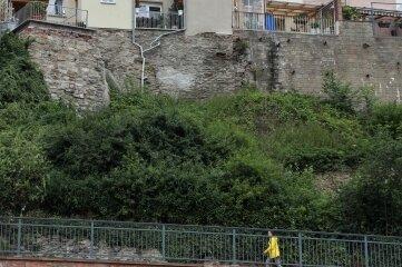 Die Stützmauer soll noch dieses Jahr saniert und fertiggestellt werden. Der mittlere Teil ist stark bewachsen.