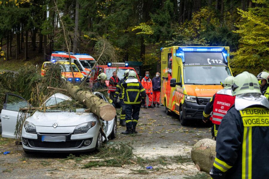 Am Vormittag ist eine 15 Meter hohe Fichte auf ein Fahrzeug auf der Schönheider Straße im Vogtland gestürzt, wobei die fahrende Person eingeklemmt und verletzt worden ist.