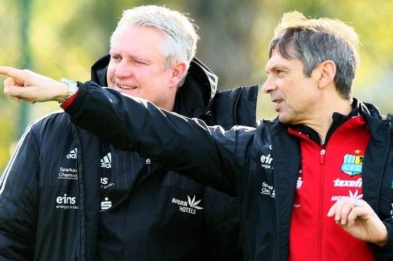 Sportdirektor Stephan Beutel (links) und Trainer Karsten Heine geben beim Chemnitzer FC sportlich die Richtung vor.