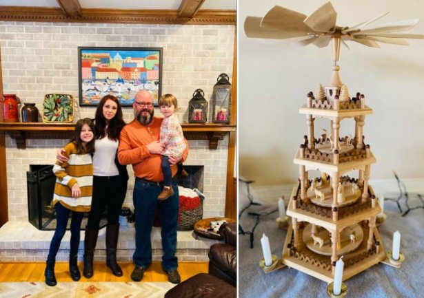 """Familie Thompson am Thanksgiving vergangenen Donnerstag: Diana mit ihrem Mann Chris, er ist Amerikaner und ihre knapp zweijährige Tochter Ginny und die elfjährige Tochter Audrey. """"Leider sind ein paar gute Stücke auf dem Umzug hier her verschwunden. Dafür sind uns die wenigen sehr wertvoll."""""""