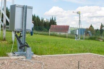Auf diesem Feld werden mit einem Sensor die Temperatur über dem und im Boden gemessen.
