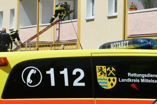 Feuerwehr und Rettungsdienst werden oft gemeinsam alarmiert - wie hier bei einem Einsatz im Neubaugebiet in Mittweida 2017.