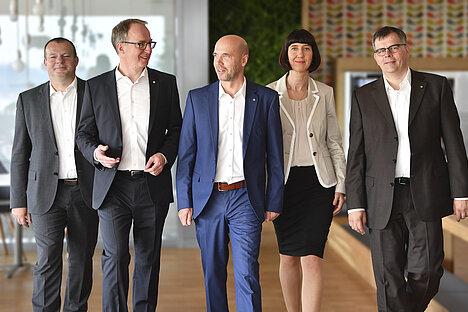 Der designierte neue Vorstand der KOMSA-Gruppe (von links): Sven Mohaupt, Steffen Ebner, Uwe Bauer (Vorsitzender), Katrin Haubold und Torsten Barth.