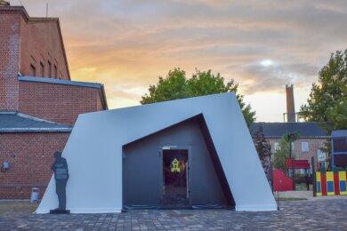 Für die 4. Sächsische Landesausstellung ist im Bergbaumuseum Oelsnitz übergangsweise ein neuer Eingang zum Anschauungsbergwerk errichtet worden.
