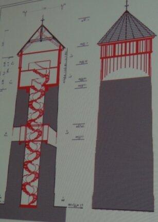 Die Skizze des Projekts: Zwischen Dach und Turmkörper werden zwei Etagen eingeschoben.