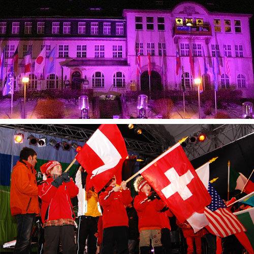 3500 Fans haben am Montagabend auf dem Klingenthaler Marktplatz die Skispringer aus 18 Nationen mit einer großen Party begrüßt.