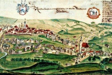 Die älteste Stadtansicht von Reichenbach um 1725 (Ausschnitt) zeigt die nach dem Brand von 1720 neu entstandenen Gebäude mit roten Dachziegeln. Vorher waren viele nur mit Holzschindeln gedeckt.