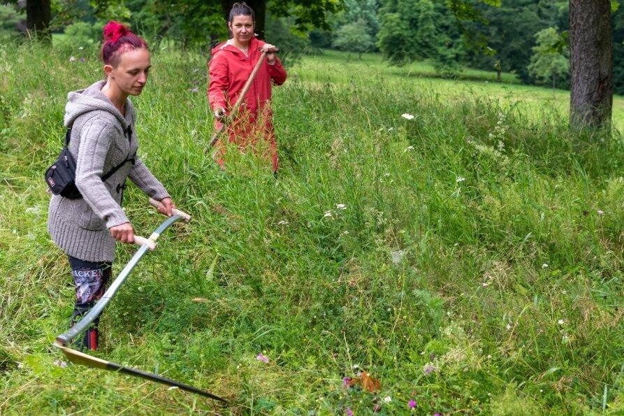 Frauen lassen Sensen im Wechselburger Schlosspark kreisen