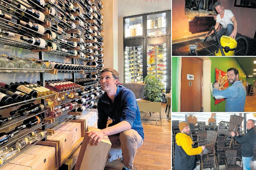 Thomas Kloiber (großes Bild) richtet ein Weinzimmer ein. Nico Kunz modernisiert die Lüftungsanlagen in der Maroon-Bar, André Donath streicht den Brauclub grün an. Tino Nagel und Thomas Röthe (Bild unten, von links) stapeln in der Pelzmühle neue Terrassenstühle.