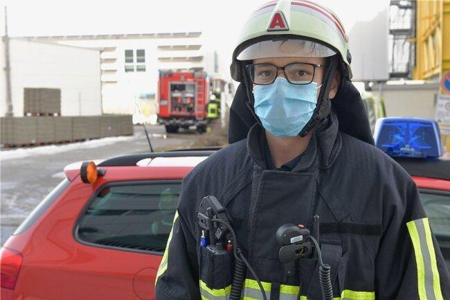 Björn Rosenkranz war am Donnerstagvormittag bei dem Fahrzeugbrand mit im Einsatz.Foto: Eckardt Mildner