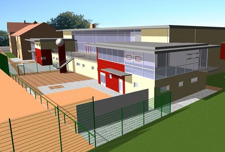 """<p class=""""artikelinhalt"""">Die neue multifunktionale Sporthalle in Treuen, wie sie 2005 geplant wurde. Im Hintergrund die alte Jahnturnhalle.</p>"""