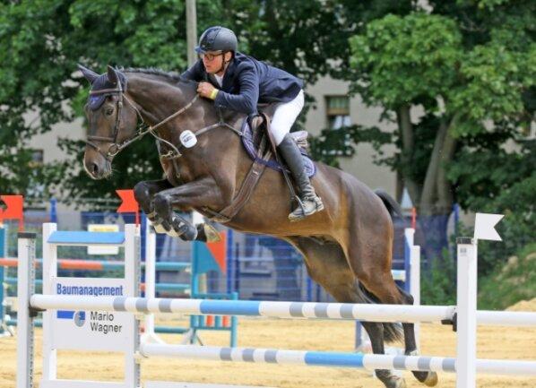 Henry Stude vom RFV Langenbernsdorf gehörte am Dienstag in Zwickau zu den erfolgreichen Reitern aus der Region.