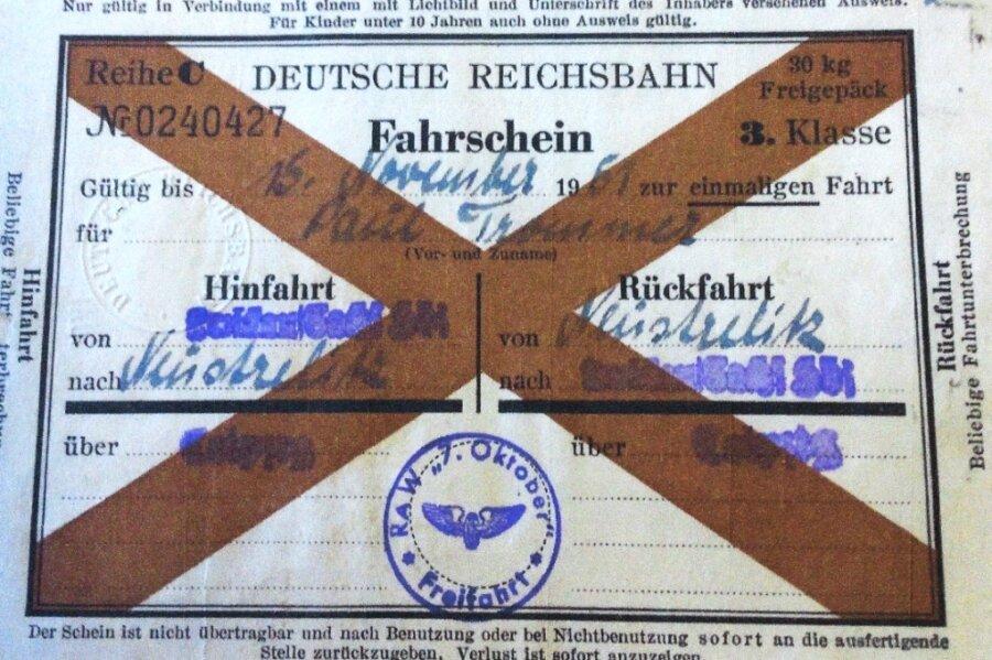 Durch diesen nicht auf seinen Namen ausgestellten Freifahrtsschein ist der Buntmetallschmuggel von Richard Bauer aufgeflogen.