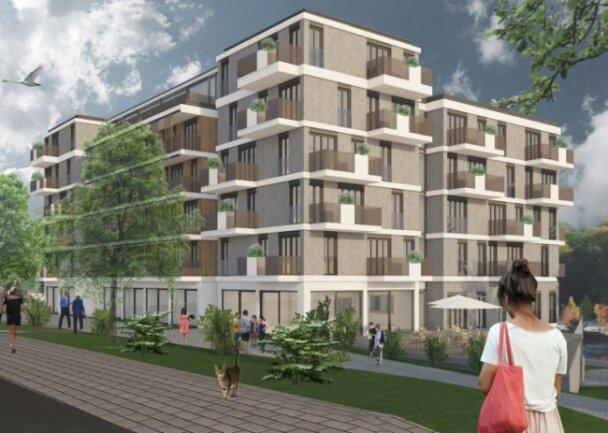 So soll es aussehen, das künftige Gebäude auf dem Schützenhaus-Areal. Das Architekturbüro Neumann habe sich bei einem Wettbewerb durchgesetzt, erklärt Diakonie-Vorstand Sven Pruß-Delitsch.