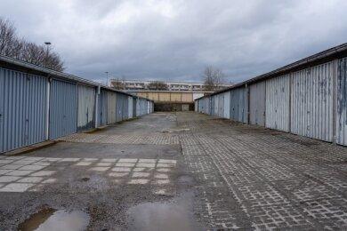 Der Garagenkomplex im Neubaugebiet nahe dem neuen Netto-Markt ist einer der größten im Stadtgebiet.
