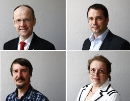 Experten beim Telefonforum zum Thema Lärm: Christian Westerhausen,  Torsten Haak, Uwe Möcke und Carina Kühnel (von links oben nach rechts unten).