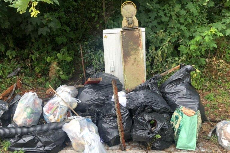 20 Säcke voller Müll haben die Sammler am vergangenen Sonntag rund um die Flöha gesammelt. Neben Plastikmüll war auch ein Fahrrad, eine Baustellenbake und Rohre dabei.