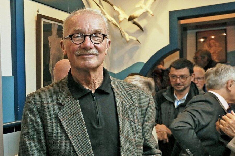 Axel Wunsch bei der Eröffnung einer Ausstellung seiner Werke in Werdau im Jahr 2019.