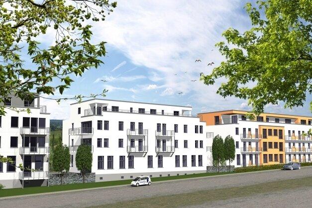So sollen die Häuser 1 (links) bis 3 der Wohnanlage, die aus dem ehemaligen Gerätewerk an der Waldenburger Straße entsteht, einmal aussehen.