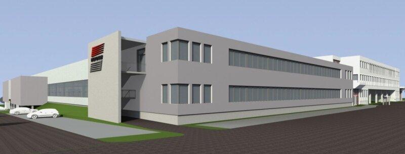 """<p class=""""artikelinhalt"""">Der 15 Millionen Euro teure Anbau (links) entsteht direkt neben dem bisherigen Produktions- und Verwaltungsgebäude der Warema. Ende des Jahres sollen die Bauarbeiten abgeschlossen sein. </p>"""